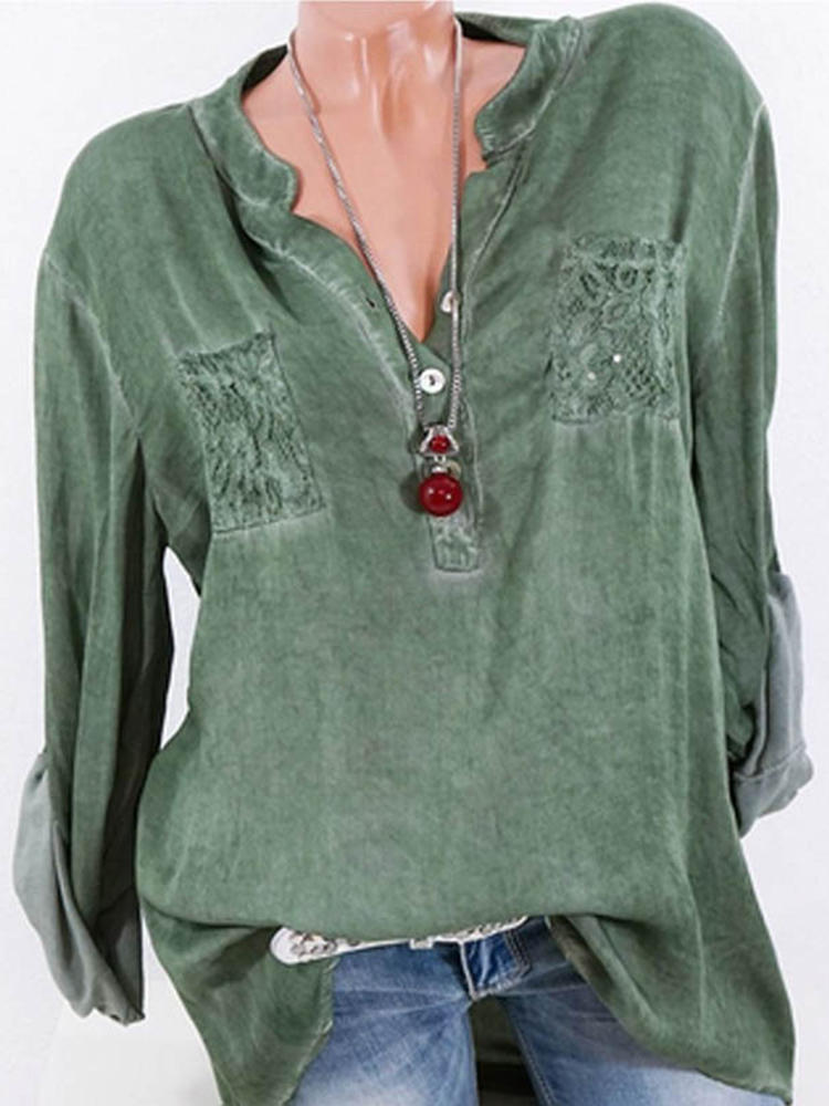 Casual Women Solid Färg V-Neck Back Lace Patchwork Blouse