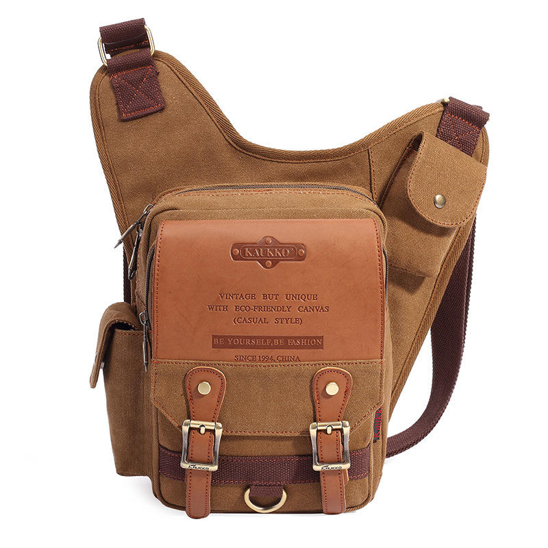 aa25dde1ce6d8 Men Retro Canvas Crossbody Shoulder Bag Sport Outdoor Messenger Bag - Khaki  COD