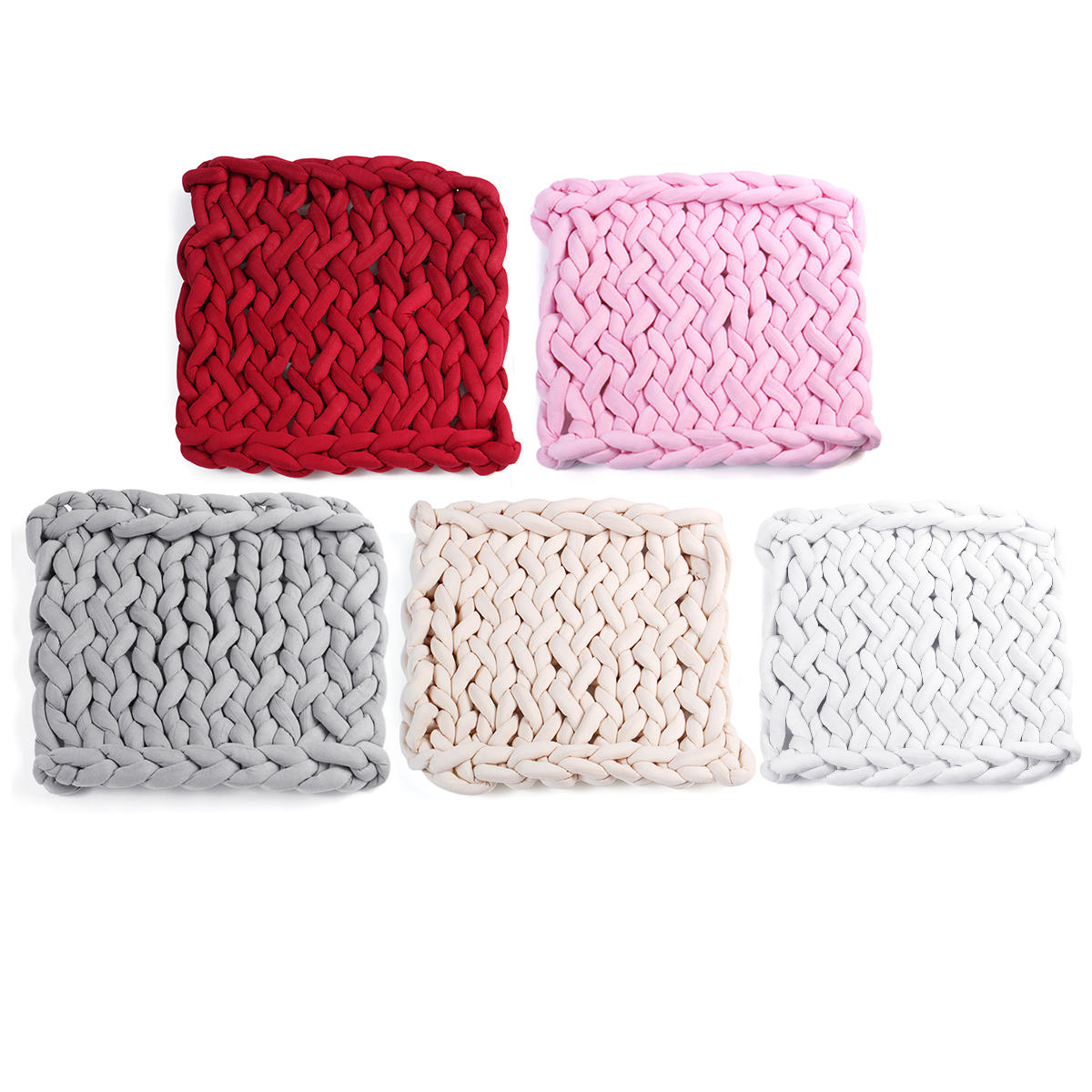 50 x 50cm Handmade Knitted Blanket Cotton Soft Washable Lint free Throw Multicolored Thick Thread Blankets