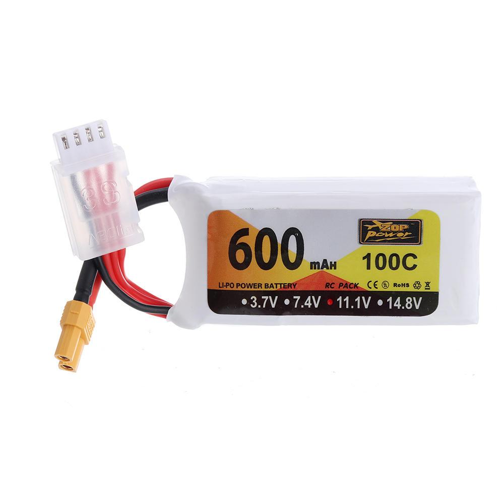 ZOP Power 11.1V 600mAh 100C 3S Lipo Batterie XT30 Fiche pour Eachine Lizard95 FPV Racer