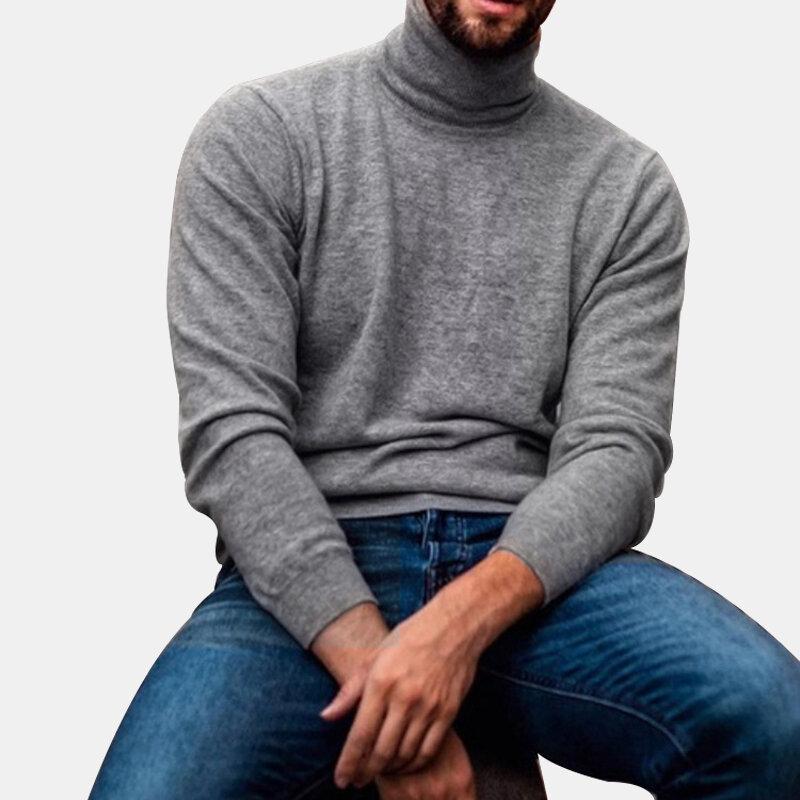 Heren Katoen Mode Hoge kraag Effen kleur Casual Sweaters