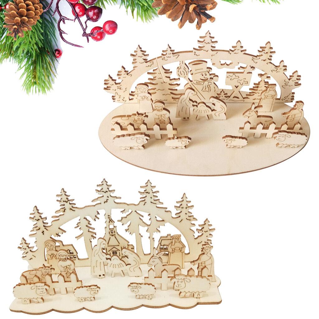 Loskii JM01692 DIY Natal Brinquedo de madeira Xmas Party Funny Desktop Decorations Christmas Ornaments Wooden