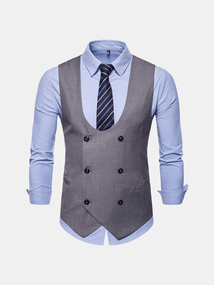 Mens Waistcoat Formal Business Double Breasted Suit Vest