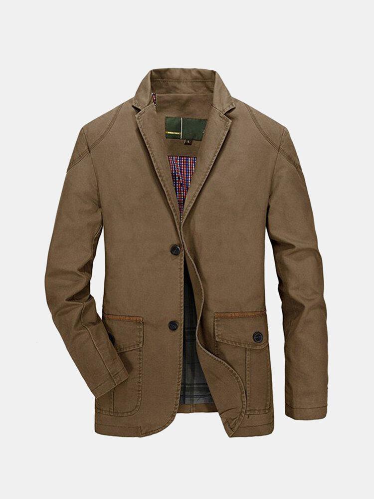 Men's Business Casual Cotton Buttons Jacket Coats