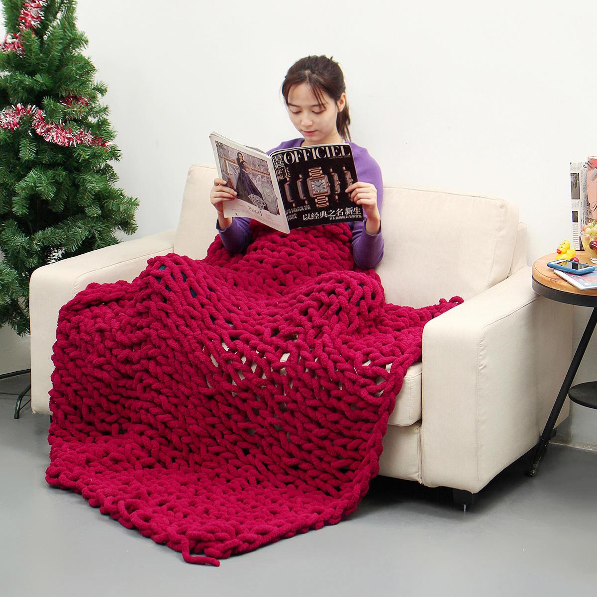 Manta de malha artesanal de algodão de 80 x 100 cm Soft mantas de algodão laváveis sem fiapos