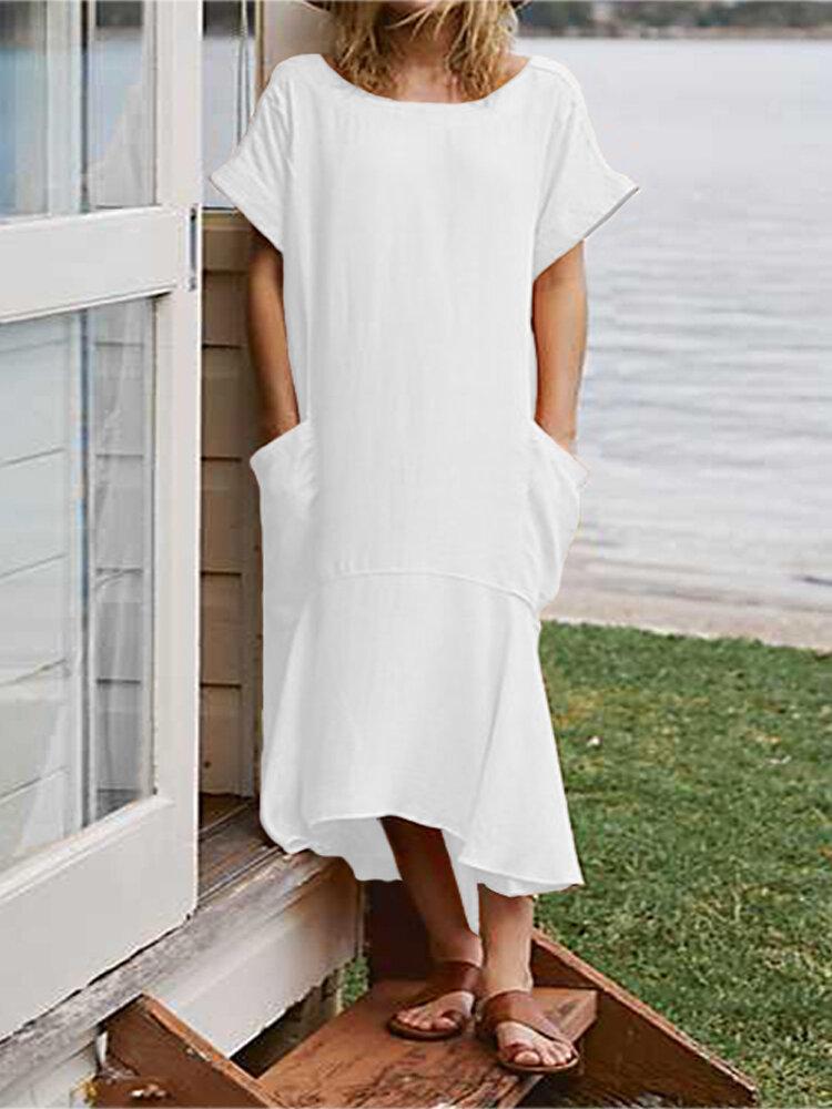 Plus Tamanho Mulheres manga curta vestido casual com bolsos