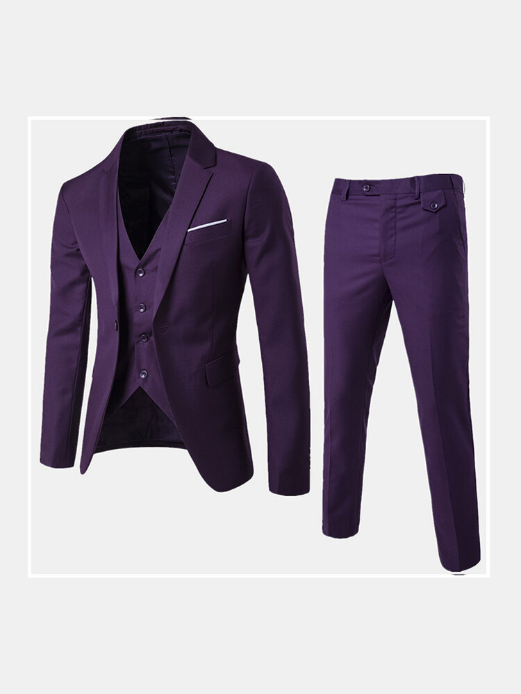 Mens High Quality Business Casual Three Piece Groom Suit Blazers