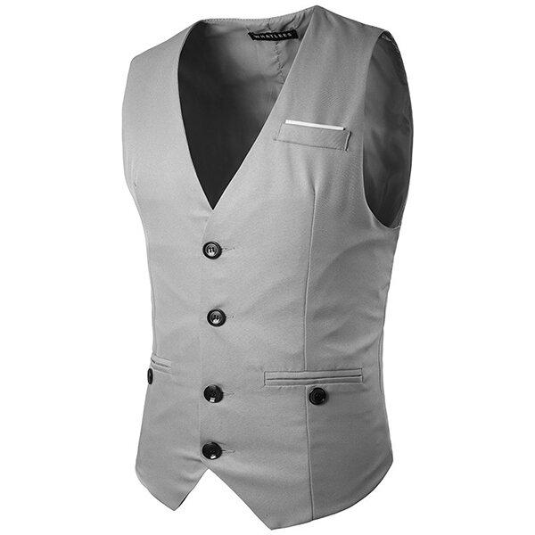 Gentleman Single Breasted Delgado Suit chaleco de vestir para hombres 5126b15fdbc7