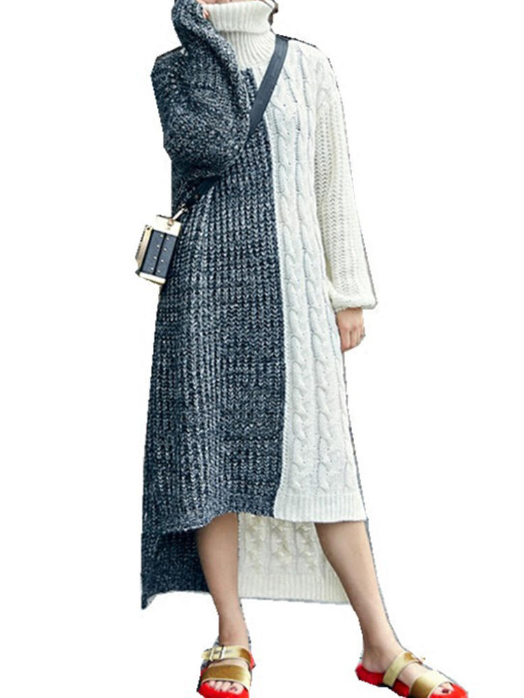 Plus Size Casual Women Black and White Sweater Dress