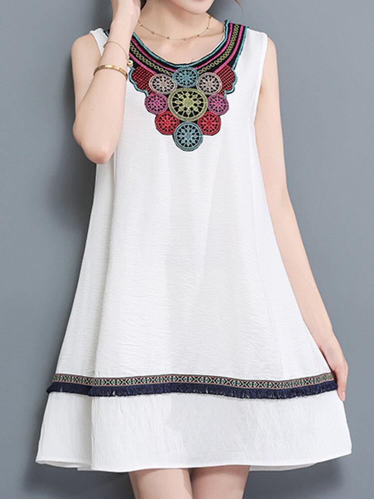 31d4b4a97b casual women embroidery dress sleeveless a line cotton linen dresses ...