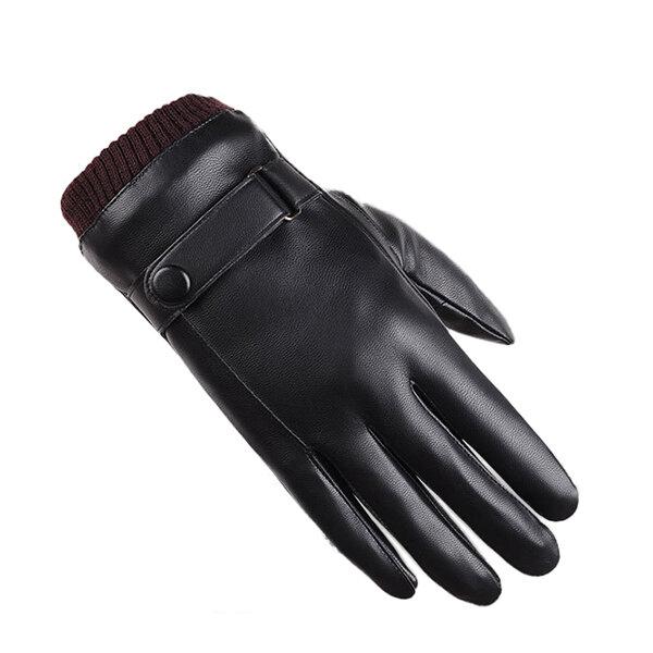 남자 여자 전체 손가락 PU 가죽 장갑 두꺼운 겨울 따뜻한 사이클링 장갑을 몰고 방풍