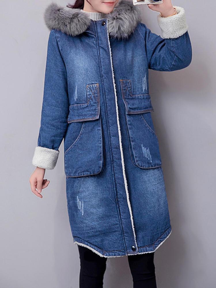 Casual Mujer Abrigo de piel de imitación doble capa gruesa