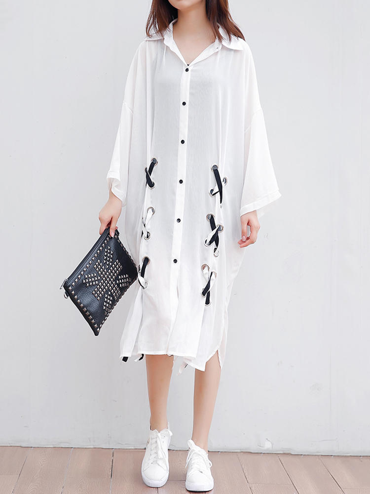 2e758c5b06a Summer Women Long Sleeve Kimono Cardigan Plus Size Casual Long Shirt -  White One Size COD