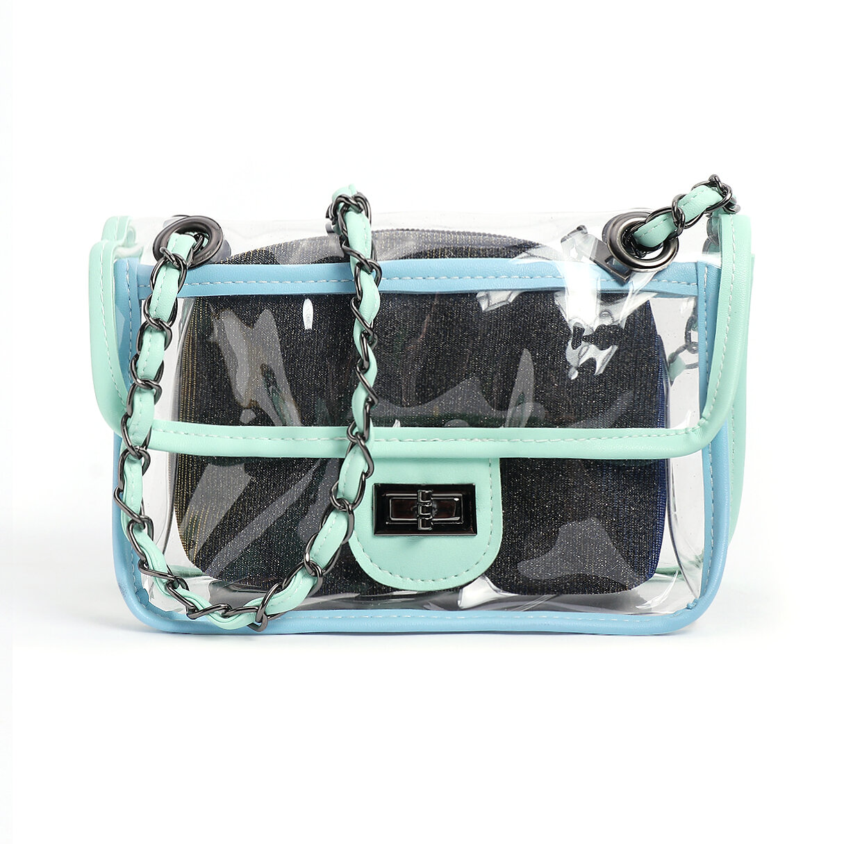 Green PVC Crossbody bags with Small PU Bags