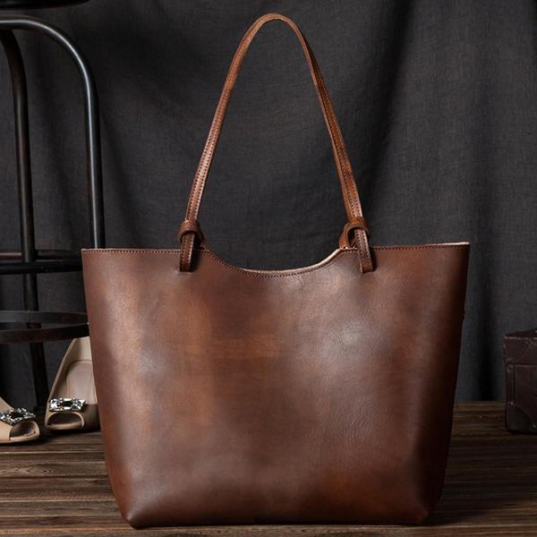 النساء جلد طبيعي قدرة كبيرة الرجعية عارضة حقيبة الكتف حقيبة