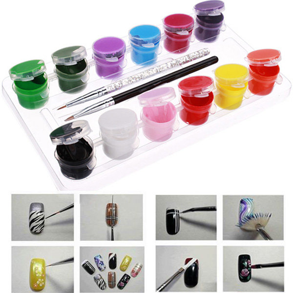 3d 12 Colors Acrylic Nail Art Paint Set With Nail Art Brush Pen Us