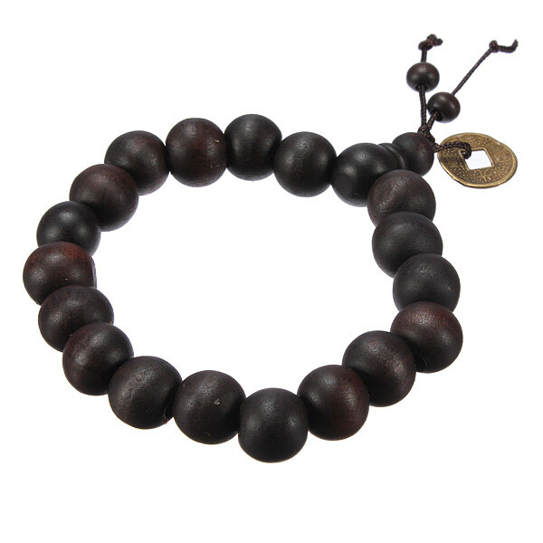 Lucky Black Wood Beads Coin Buddhist Prayer Bracelet Uni