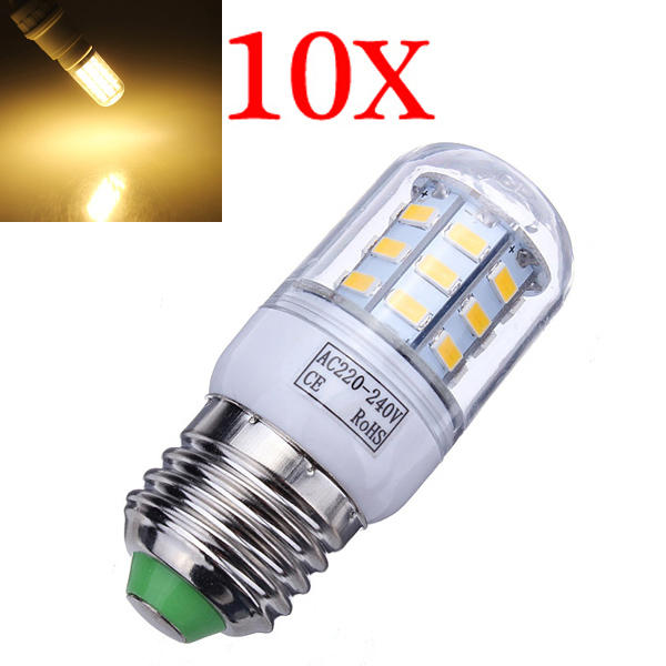 10X E27 7W 504LM Warm White 30 SMD5630 LED Corn Light Bulbs 220-240V