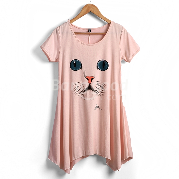 Zanzea Women's Round Collar Short Sleeve Cute Cat Pattern Loose Dress