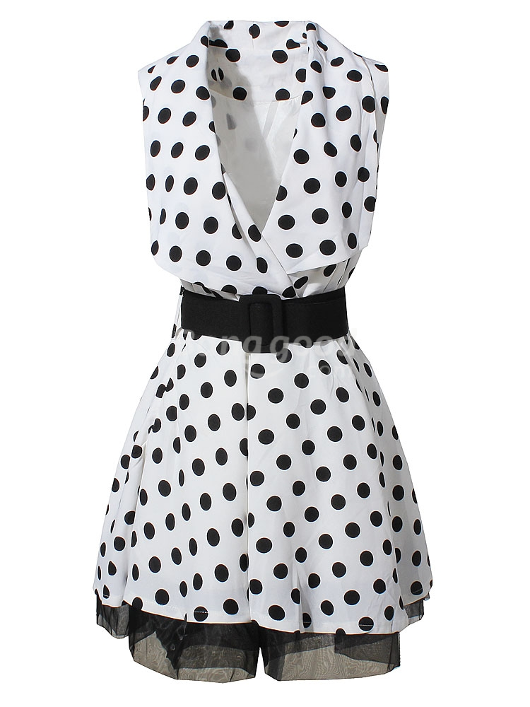 Europe Style Black & White Wave Dot Sleeveless Dress With Belt