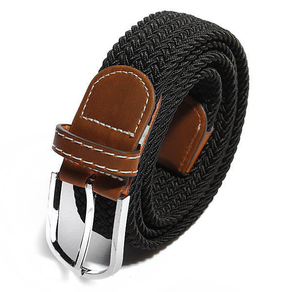 Men Women Casual Canvas Stretch Braided Elastic Woven Leather Buckle Belt