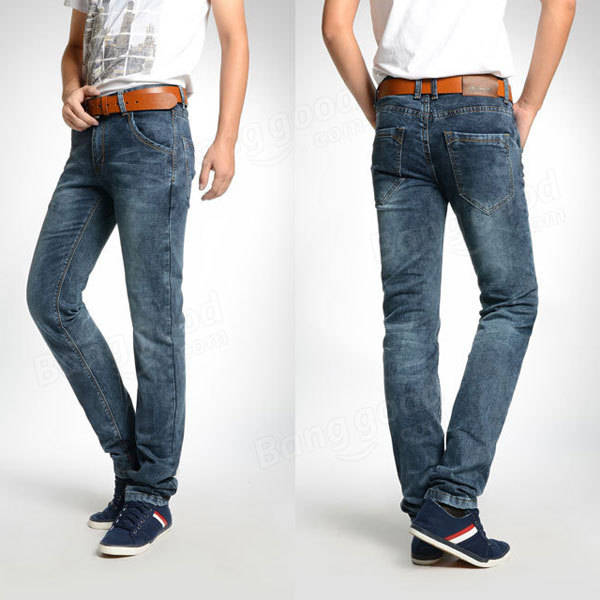 1429fc8c Jeans Fashion Men Cotton Faded Blue Grey Straight Jeans - US$23.56 ...
