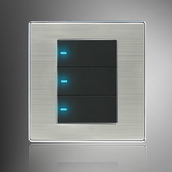 LED Wall Switch Panel Three Switch Single/Double Control 250V 10A ...