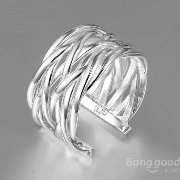 Other Warehouse. Send me a coupon on Messenger. 925 Silver Plated Crossed Net Web Weave Opening Ring Jewelry ...