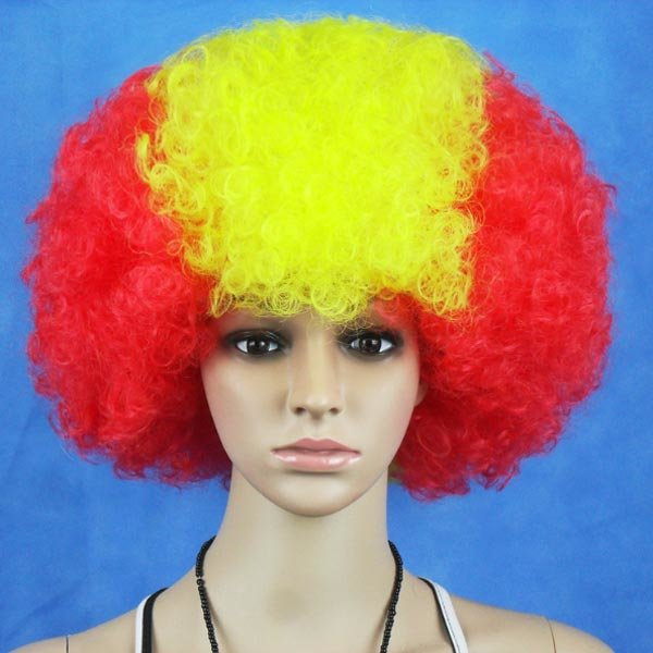 Spain National Flag World Cup Fans Synthetic Cosplay Party Wigs