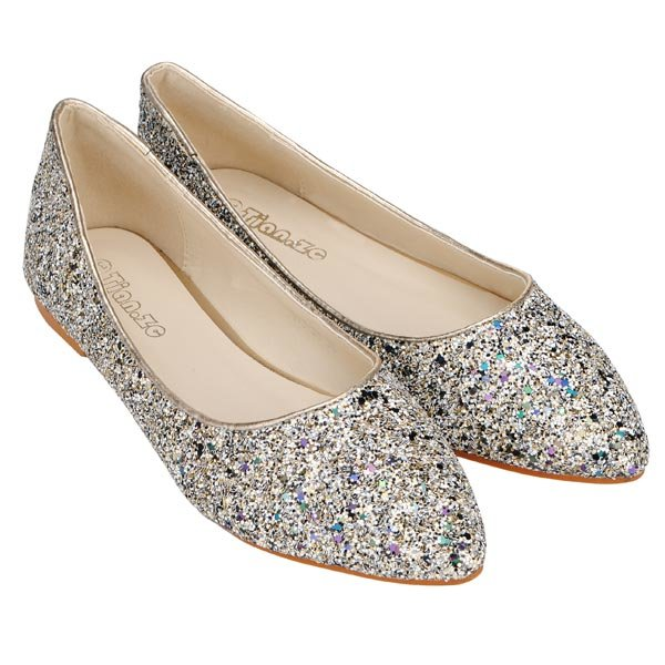 6e3a595ed683 Scale Pattern Glitter Pointed Toe Ballet Flat Shoes - US 16.39 sold out