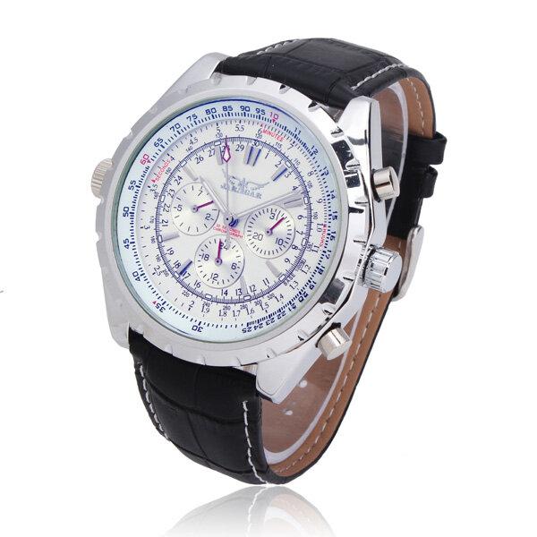 JARAGAR Automático Mecánico PU Banda Gran Dial reloj de moda