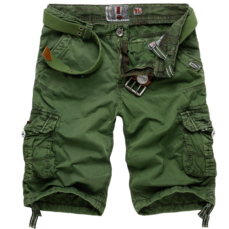 4dc9f34179 Mens Cotton Multi Pocket Loose Fit Casual Cargo Short Pants - Light Green  30 COD