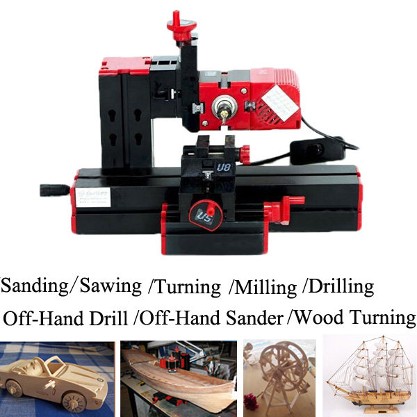 6 In 1 Multi Metal Mini Wood Lathe Motorized Jig-saw Grinder Driller