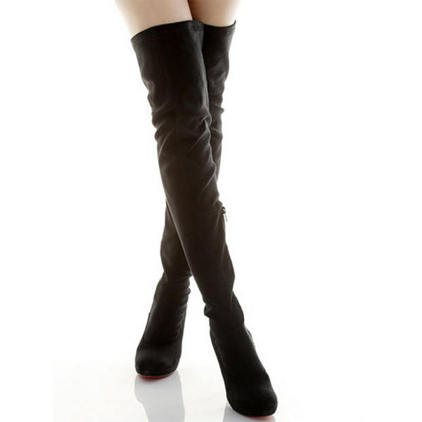 731ce6c0320 women s sexy slouch over knee stiletto suede boots high heels at ...