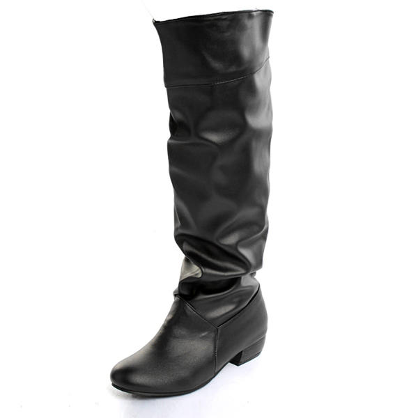 4e80bcc91cc women pu leather pure color leisure low heel knee high boots at Banggood