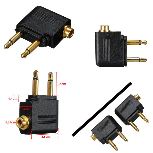 3.5mm Airline Airplane Adapter To Dual Prong Stereo Jack For Jack Aero