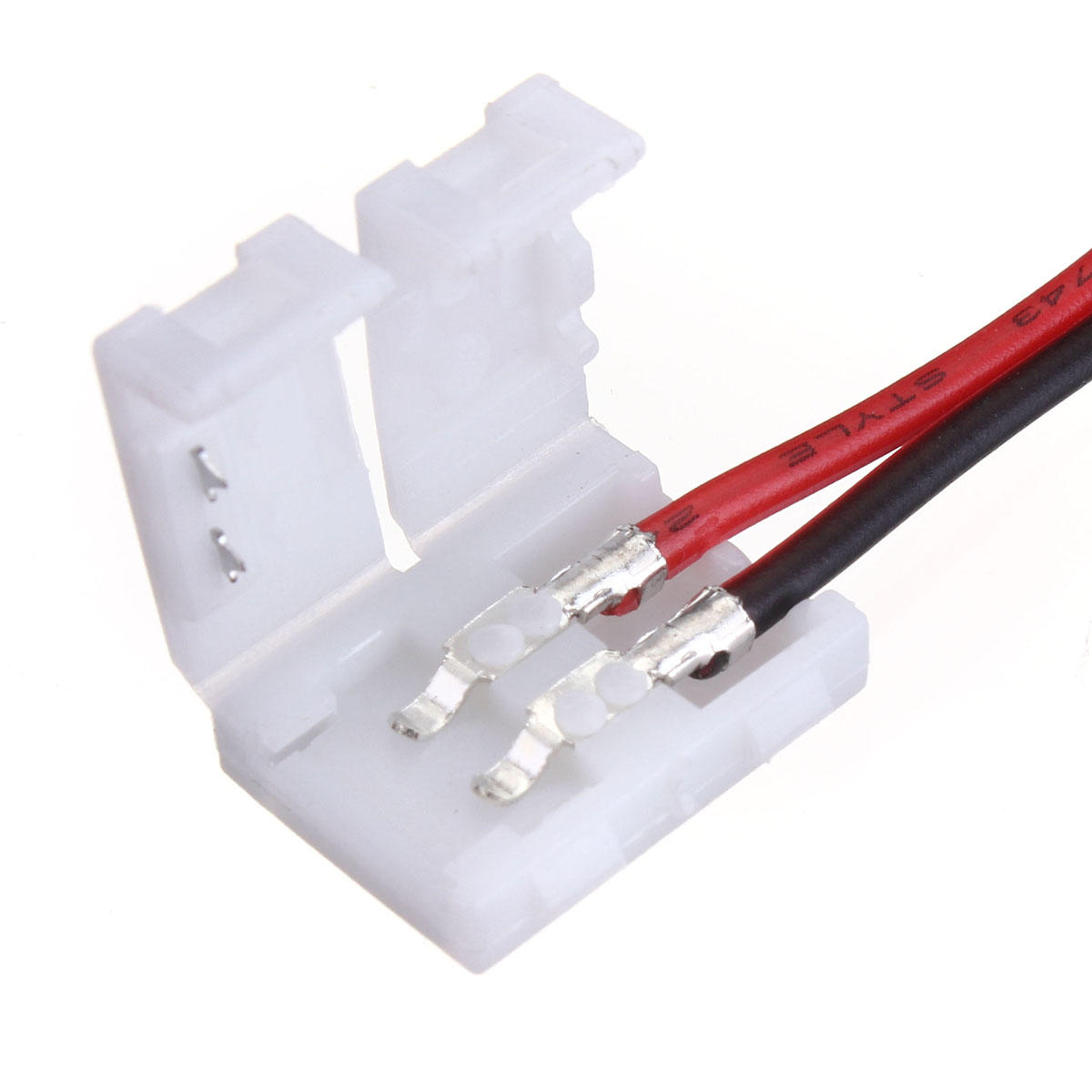 5x10mm 5050 LED Light Strip to Wire Connector PCB Adapter 2Pin White