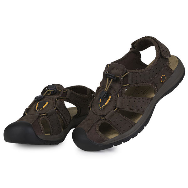 2a561f2b15ee mens outdoor cowhide sandals summer leather beach sandals at Banggood sold  out