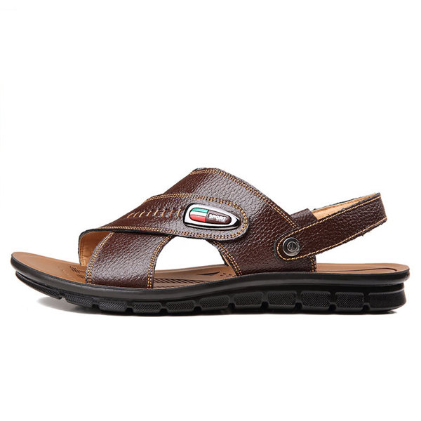 a6b88083f738 new men s casual sandals summer outdoor beach shoes leather slipper at Banggood  sold out