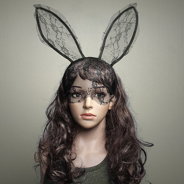 Sexy Lace Rabbit Ears Hair Hoop Hair Band Party Dance Mask COD