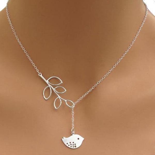 Золотые серебряные листья Птичий крест Infinity Кулон Ожерелье для Женское