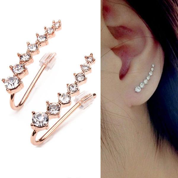 Italina Boucles d'oreilles manchette en cristal strass plaqué or rose 18K