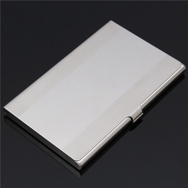 Stainless Steel Silver Aluminium Wide Strip Business Card Holder Case Cover