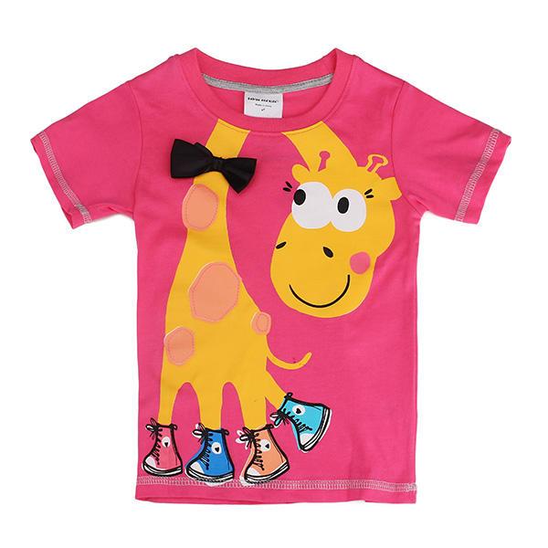 2015 nuevo bebé del verano niñas jirafa rosa de algodón rojo de manga corta camiseta camiseta