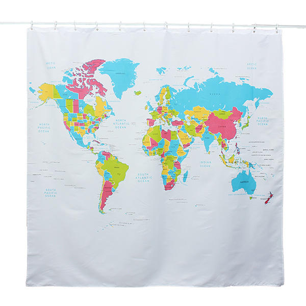 180 180cm World Map Pattern Waterproof Polyester Shower Curtain At