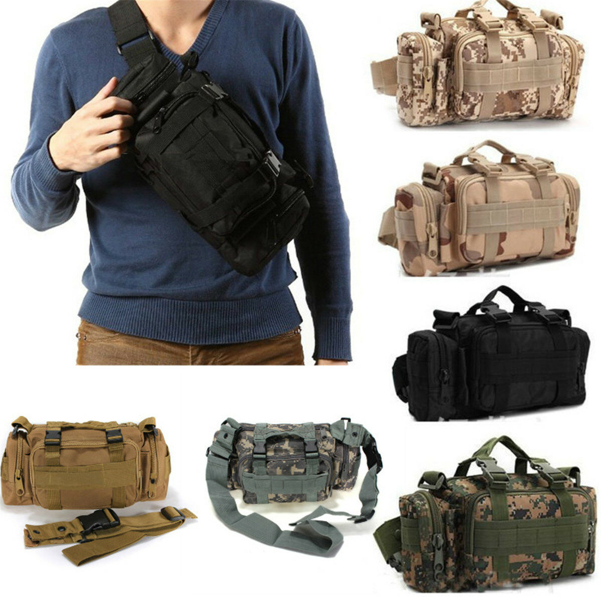 fd7d356d7754 Outdoor Sports Camouflage Backpack Rucksack Camping Hiking Waist Bag Pack  COD