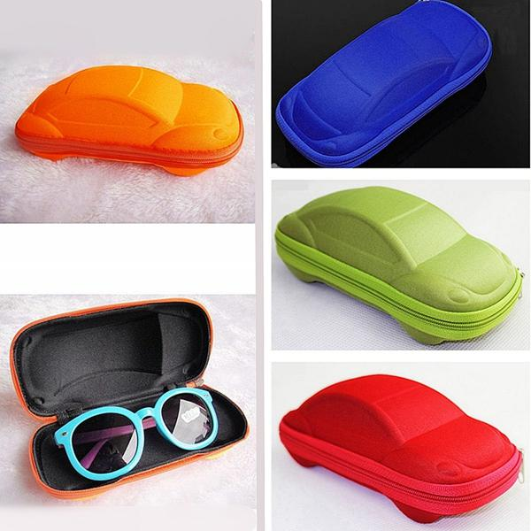 Car Shaped Kids Rits Zonnebril Eyeglassess Protector Eye Hard Case Box Holder