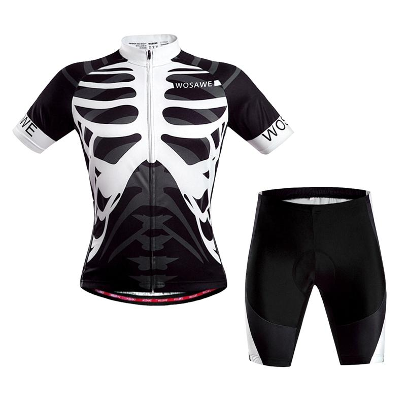 WOSAWE Short Sleeves Cycling Jersey Cycling Clothing Set Bicycle Bike Suit  Skeleton COD 906f3c413