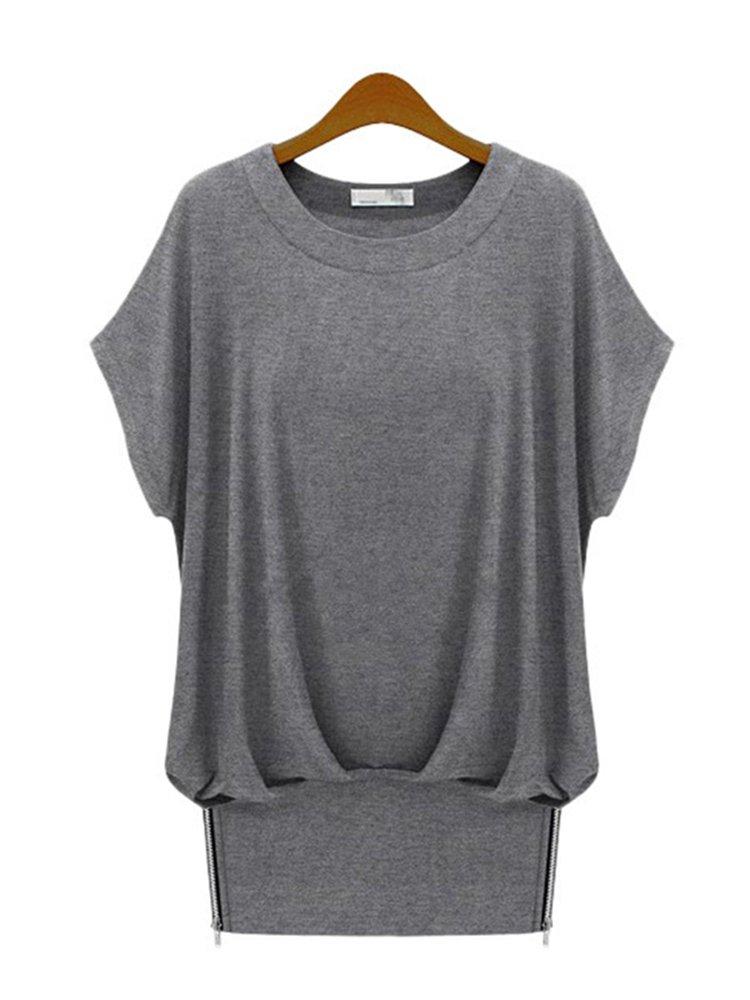 06171e8b75e3a0 women plus size loose short-sleeved t-shirt round neck fold stitching bat  sleeve t-shirts at Banggood sold out
