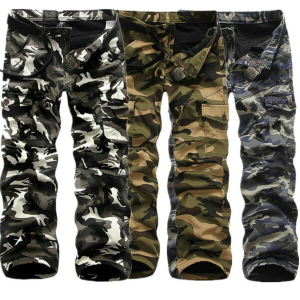 ede529d57d1 Winter Thick Fashion Cotton Warm Mens Cargo Pants Outdoor Casual Camouflage  Pocket Overalls COD